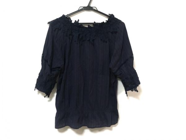 Rose Tiara(ローズティアラ) カットソー レディース美品  ネイビー ストライプ/刺繍
