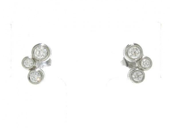 ティファニー ピアス新品同様  バブルピアス Pt950×ダイヤモンド 片側3Pダイヤ