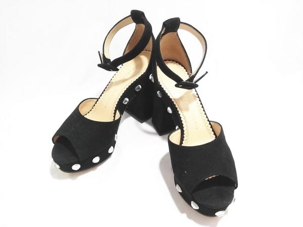 シャーロットオリンピア 靴 35 レディース 黒 ラインストーン スエード