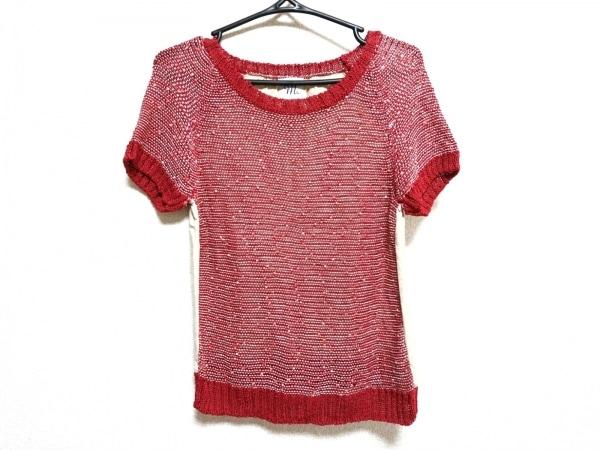 エムアンドキョウコ 半袖セーター サイズF レディース美品  レッド×アイボリー