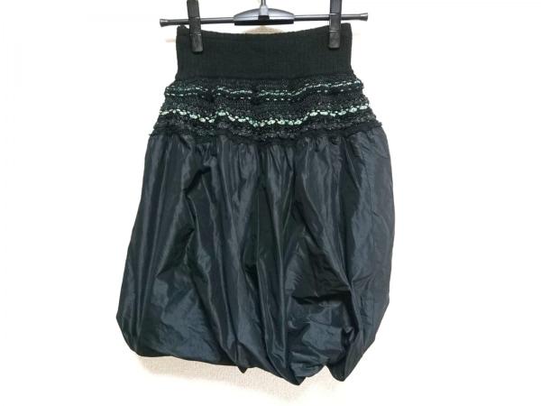 エムアンドキョウコ スカート サイズ1 S レディース 黒×ライトグリーン ラメ