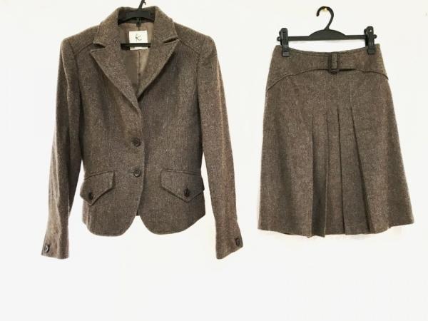 クミキョク スカートスーツ サイズ2 M レディース美品  グレー×ダークブラウン