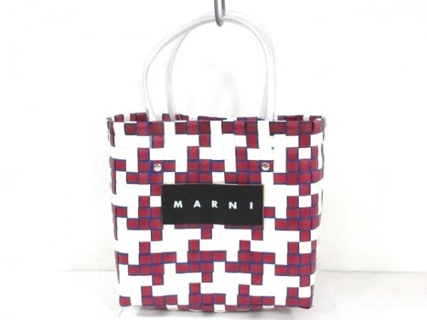 マルニ トートバッグ ボルドー×白×マルチ かごバッグ/編み込み 化学繊維×レザー