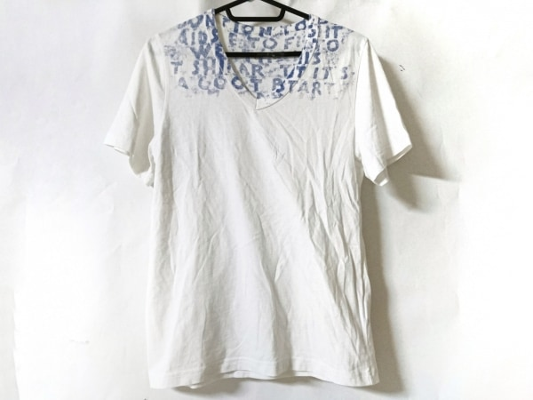 MARTIN MARGIELA(マルタンマルジェラ) 半袖Tシャツ サイズXS メンズ美品  白×ブルー