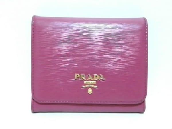 PRADA(プラダ) 3つ折り財布 - 1MH176 ピンク レザー 1