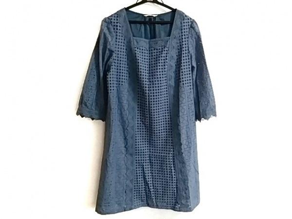 ローズティアラ ワンピース サイズ42 L レディース美品  ブルー レース/刺繍