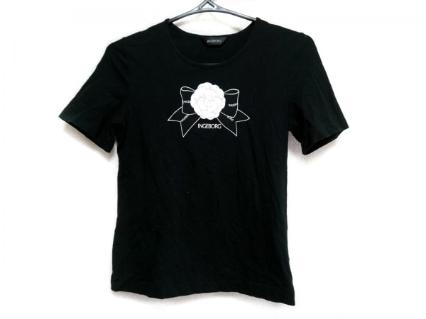 INGEBORG(インゲボルグ) 半袖Tシャツ サイズ9 M レディース美品  黒×白