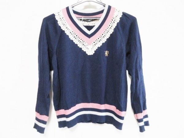 ジェーンマープル 長袖セーター サイズM レディース ネイビー×アイボリー×マルチ