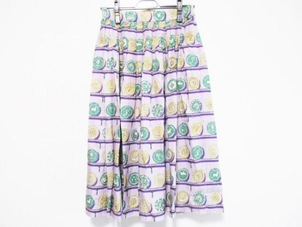 ジェーンマープル ロングスカート サイズM レディース パープル×グリーン×マルチ