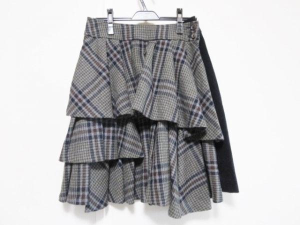 ジェーンマープル 巻きスカート サイズM レディース ダークグレー×ネイビー×マルチ