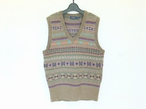 ポロラルフローレン ノースリーブセーター サイズM メンズ美品  Vネック