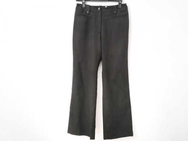 ヒロコビス パンツ サイズ9 M レディース ダークグレー×黒×アイボリー ストライプ