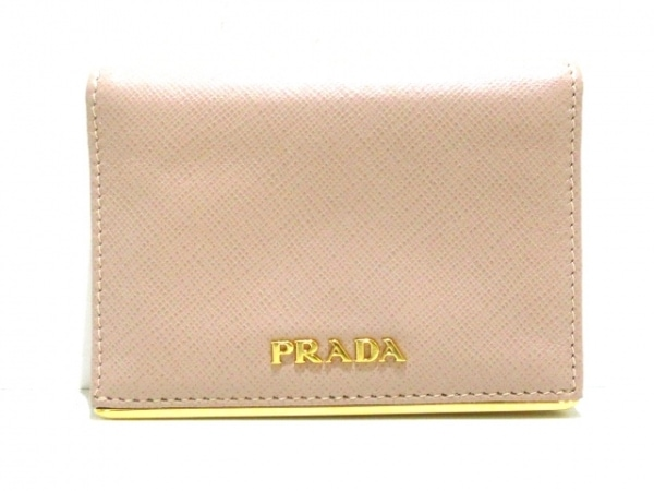 PRADA(プラダ) 名刺入れ美品  - 1MC945 ベージュ×ゴールド レザー×金属素材