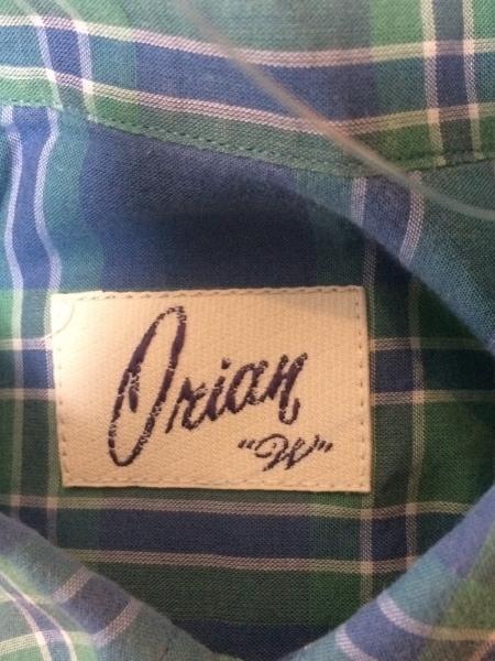 オリアン 長袖シャツブラウス サイズ38 M レディース ブルー×ライトグリーン×白