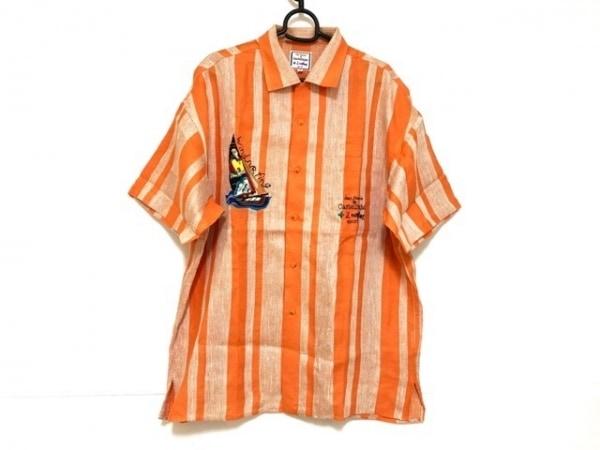 カステルバジャックスポーツ 半袖シャツ サイズ3 L メンズ オレンジ×シルバー