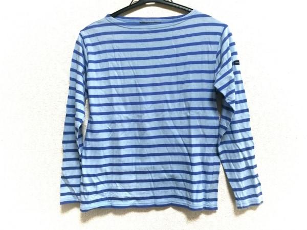 セントジェームス 長袖Tシャツ レディース ライトブルー×ブルー ボーダー