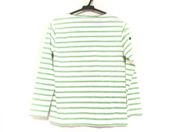 SAINT JAMES(セントジェームス) 長袖Tシャツ レディース 白×ライトグリーン ボーダー