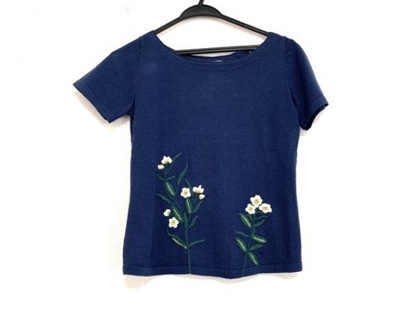 シビラ 半袖カットソー サイズM レディース美品  ネイビー×マルチ 刺繍/フラワー