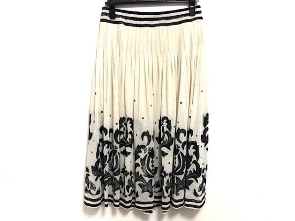 ヒロココシノ ロングスカート サイズ40 M レディース美品  アイボリー×黒