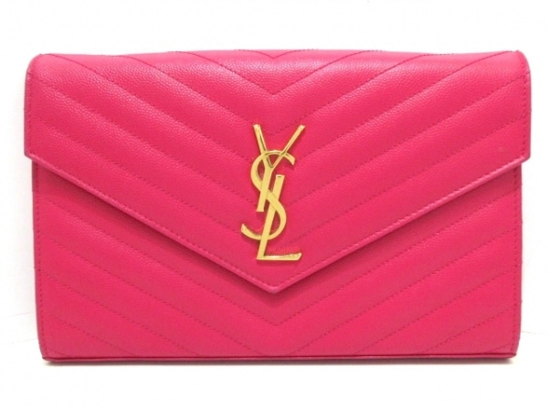 サンローランパリ 財布 モノグラム サンローラン 377828 ピンク チェーンウォレット