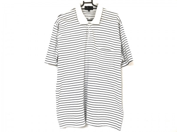 ダンヒル 半袖ポロシャツ サイズ107 メンズ 白×ネイビー ボーダー