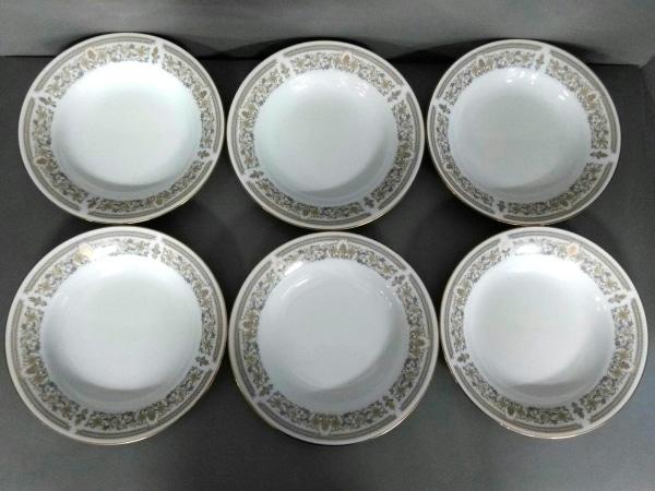 ノリタケ プレート新品同様  ゴールドグレース 白×モスグリーン×マルチ スープ皿×6