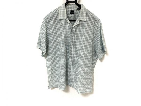 ヒューゴボス 半袖シャツ サイズXL メンズ美品  ライトブルー×白 チェック柄