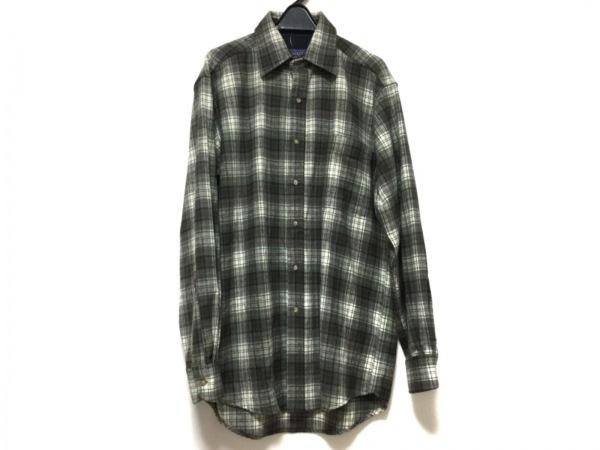 ペンドルトン 長袖シャツ メンズ グレー×ダークブラウン×マルチ チェック柄