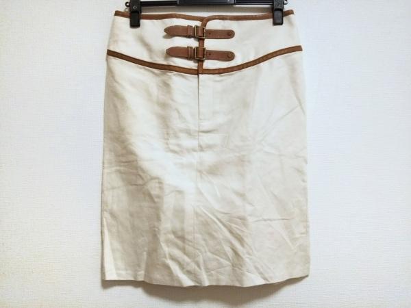 ラルフローレン スカート サイズ6 M レディース美品  アイボリー×ブラウン レザー