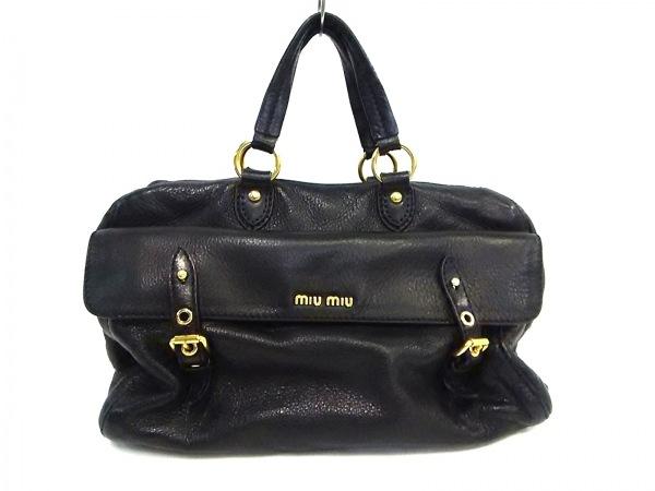 miumiu(ミュウミュウ) ハンドバッグ - 黒 レザー