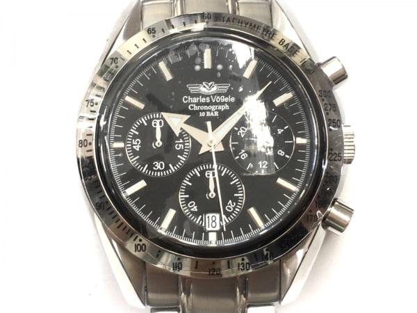 CharlesVogele(シャルルホーゲル) 腕時計美品  CV-7871R メンズ クロノグラフ 黒