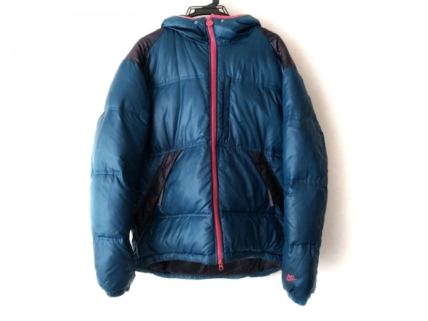 NIKE(ナイキ) ダウンコート サイズXL メンズ ブルー×ピンク×黒 冬物