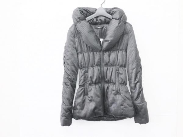 DURAS(デュラス) ダウンジャケット サイズF レディース 黒 冬物/千鳥格子