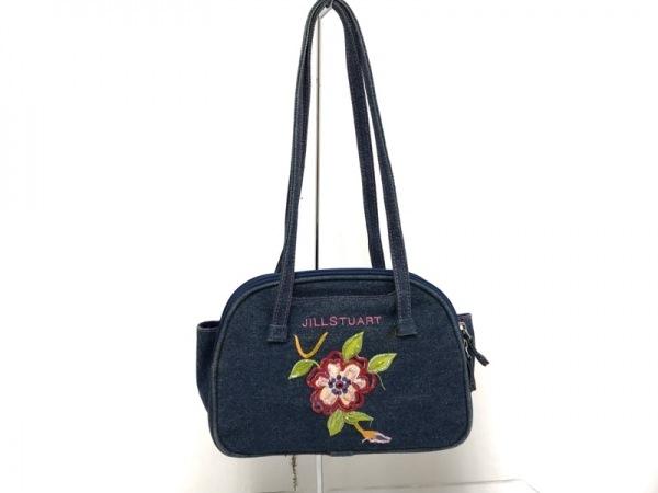 ジルスチュアート ショルダーバッグ - - ネイビー×マルチ フラワー(花)/ビーズ
