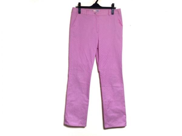 LEONARD(レオナール) パンツ サイズ73 レディース ピンク×白 SPORT/ストライプ/刺繍