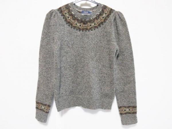ポロラルフローレン 長袖セーター サイズXS レディース カーキ×オレンジ×マルチ