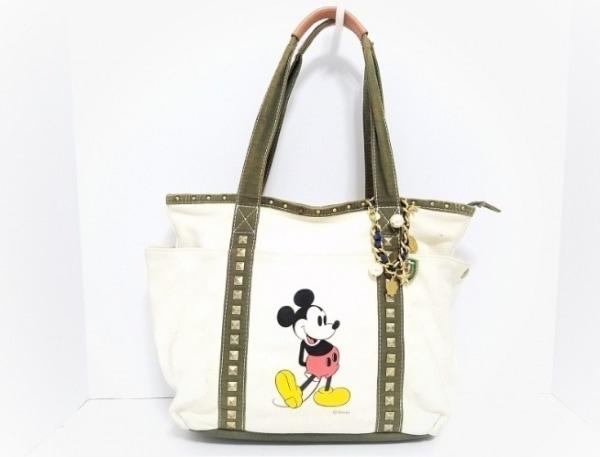 バイオレットハンガー ハンドバッグ アイボリー×カーキ Disney/スタッズ キャンバス