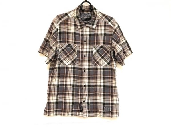 ネイバーフッド 長袖シャツ サイズM メンズ グレー×ダークブラウン×マルチ
