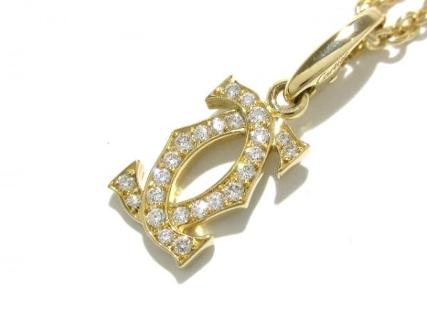 カルティエ ネックレス美品  2Cダイヤチャーム K18YG×ダイヤモンド ダブルストッパー