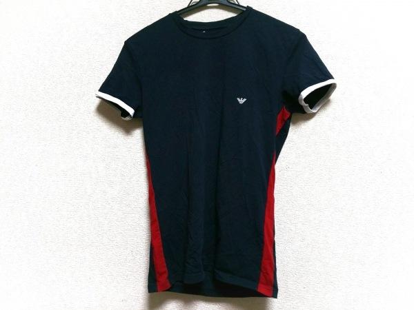 エンポリオアルマーニ 半袖Tシャツ サイズM メンズ ネイビー×レッド×白 UNDERWEAR