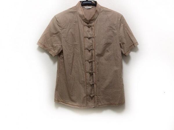 インゲボルグ 半袖シャツブラウス サイズL レディース美品  ダークブラウン×白