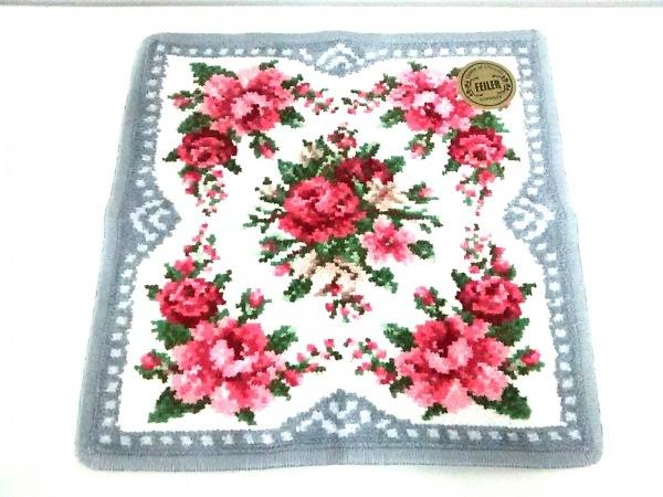 FEILER(フェイラー) ハンカチ美品  グレー×白×マルチ 花柄