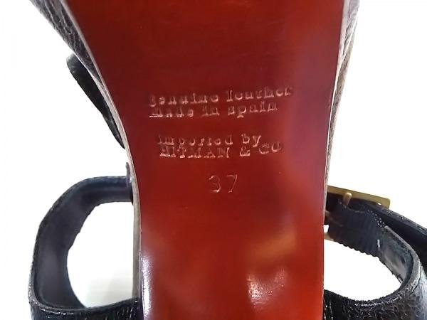 チエミハラ サンダル 37 レディース 黒×ブラウン×ダークブラウン フリンジ レザー