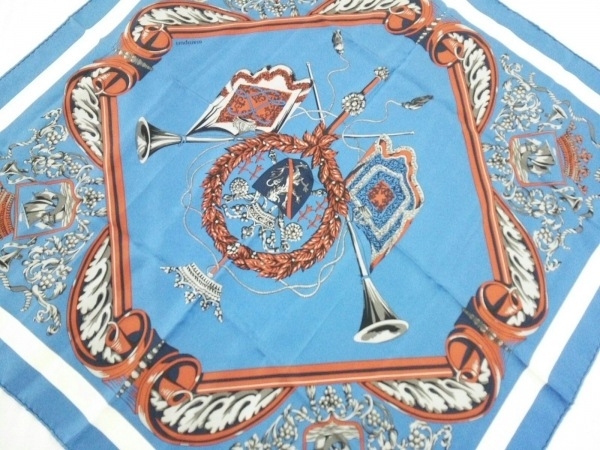 manipuri(マニプリ) スカーフ ブルー×マルチ クラウン