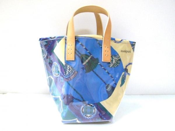 manipuri(マニプリ) トートバッグ美品  ブルー×マルチ タッセル柄 ビニール×レザー