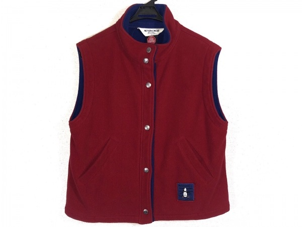 Munsingwear(マンシングウェア) ベスト サイズL レディース ボルドー×ブルー