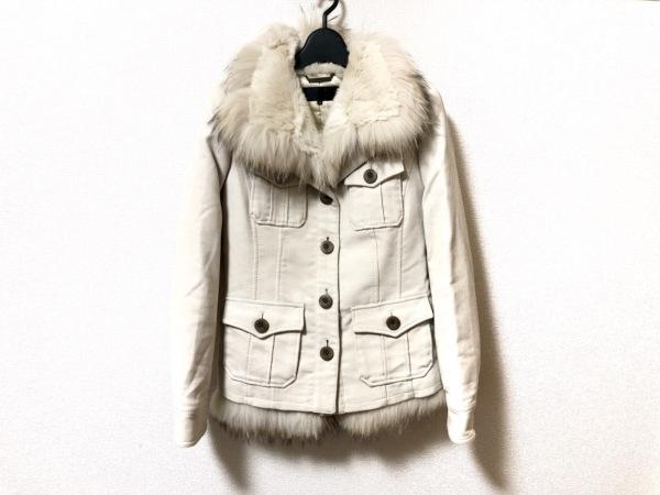 フラジール ダウンジャケット サイズ36 S レディース美品  ベージュ 冬物/ファー/2way