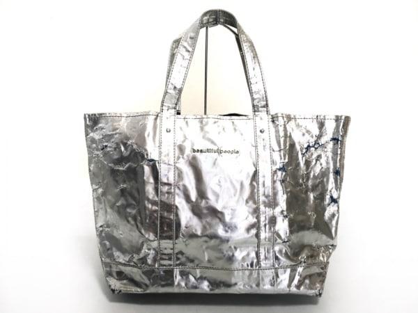 ビューティフルピープル トートバッグ シルバー PVC(塩化ビニール)×ナイロン×アルミ