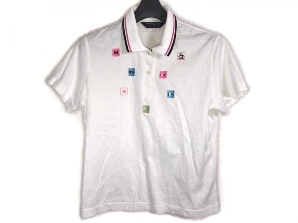 マンシングウェア 半袖ポロシャツ サイズL レディース アイボリー×ピンク×マルチ