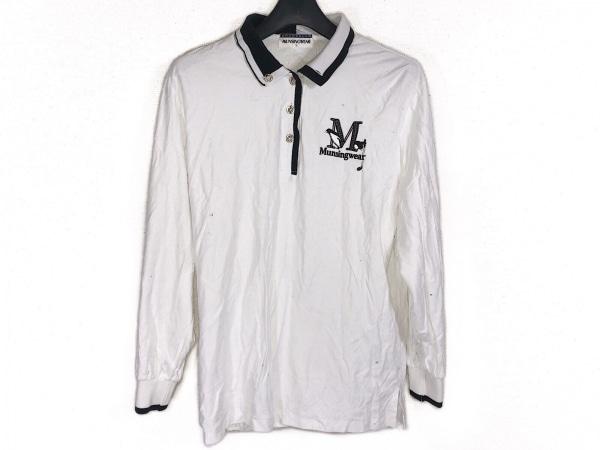 マンシングウェア 長袖ポロシャツ サイズL レディース 白×ダークネイビー